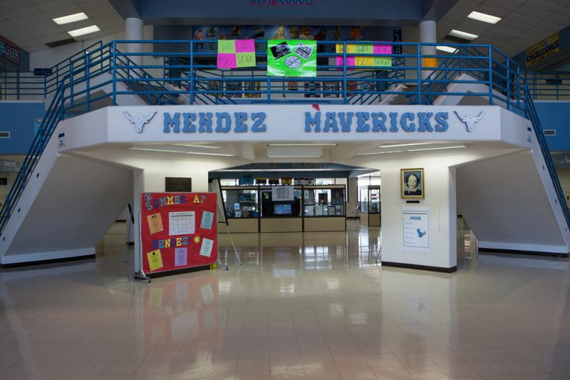 Mendez Middle School in Austin's Dove Springs neighborhood has had trouble meeting state standards in the past, but Principal Ron Gonzales is aimed at turning that around.