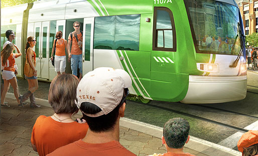 A rendering of Project Connect's vision for urban rail in Austin.
