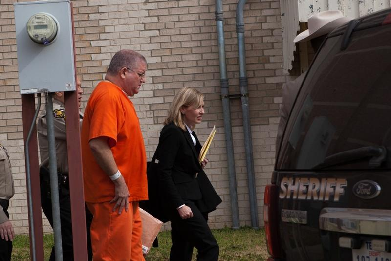 "Bernhardt ""Bernie"" Tiede exits the Panola County Court building with his attorney Jodi Cole after his hearing on Feb. 5, 2014 in Carthage. His attorney filed new evidence that could affect his punishment term."