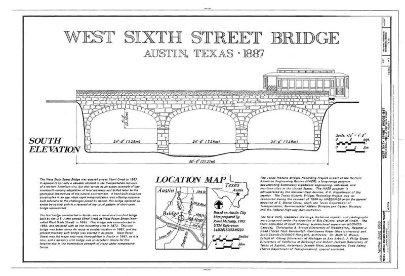 A drawing of the bridge by the Historic American Engineering Record