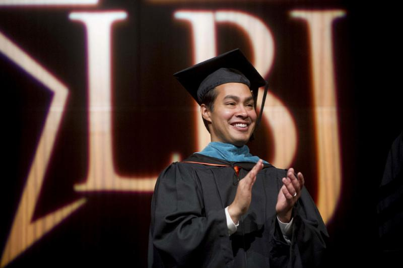 Mayor Julian Castro gave the keynote address at the LBJ School's graduation this weekend.