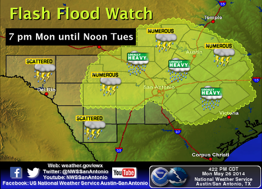 A Flash Flood Watch is in effect until noon today. Scattered to numerous showers and thunderstorms are expected.