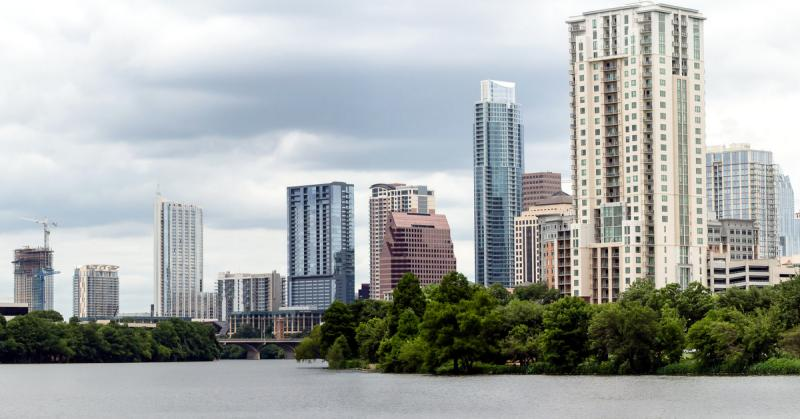 Downtown Austin, as seen from the Lady Bird Lake Boardwalk. Photograph by Earl McGhee.