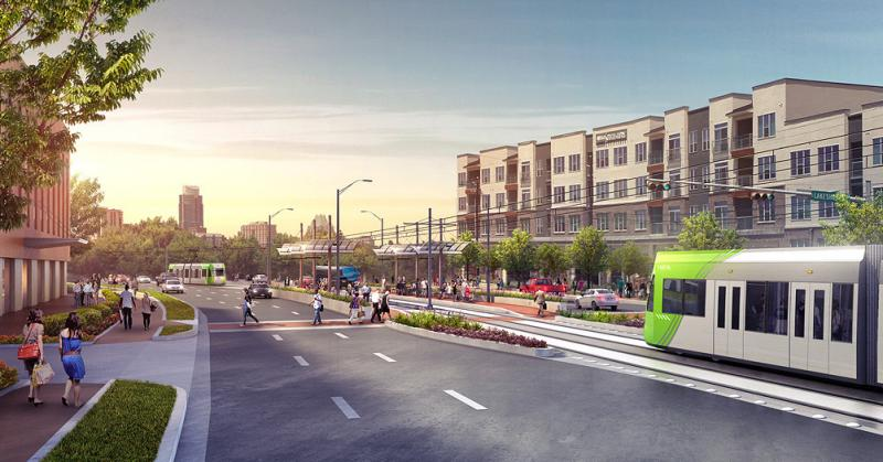 A rendering of urban rail on Lakeshore Boulevard, one stop along a proposed E. Riverside Drive route.