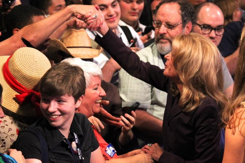 State Sen. Wendy Davis, D-Fort Worth, greets supporters at the Texas Democratic Convention in Dallas on June 27, 2014.