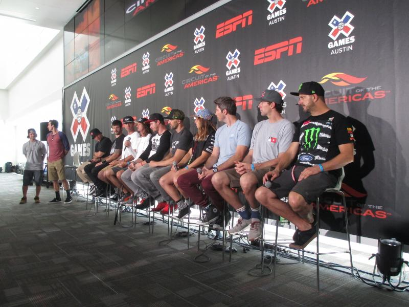 Morgan Wade (fifth from left, sitting) and Travis Pastrana (second from right) are two of the athletes competing at the X Games Austin.