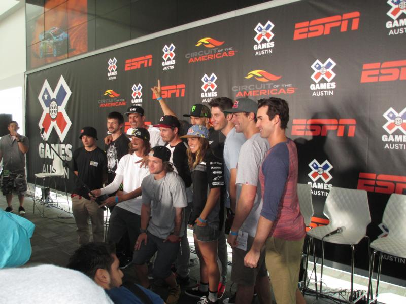 Several of the X Games Austin Athletes pose for a photo.