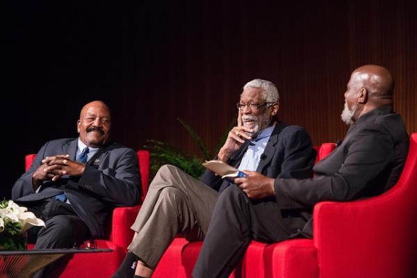 Jim Brown, Hall of Fame running back for the Cleveland Browns, left, Bill Russell, Hall of Fame center for the Boston Celtics, and Harry Edwards, Professor Emeritus of University of California in Berkeley.