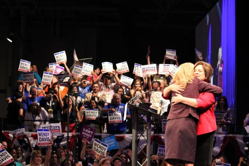 State Sens. Wendy Davis and Leticia Van de Putte hugged at the Texas Democratic Convention in Dallas on June 27, 2014.