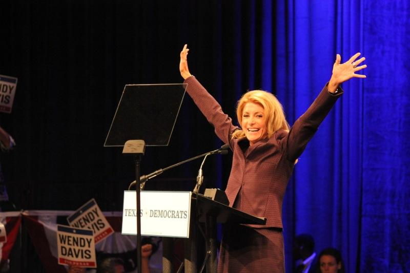 State Sen. Wendy Davis, D-Fort Worth, greets the crowds at the Dallas Convention Center for the Texas Democratic Convention on June 27, 2014.