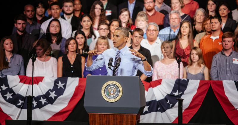 President Barack Obama addresses a crowd in the Paramount Theater in downtown Austin, Texas on Thursday.