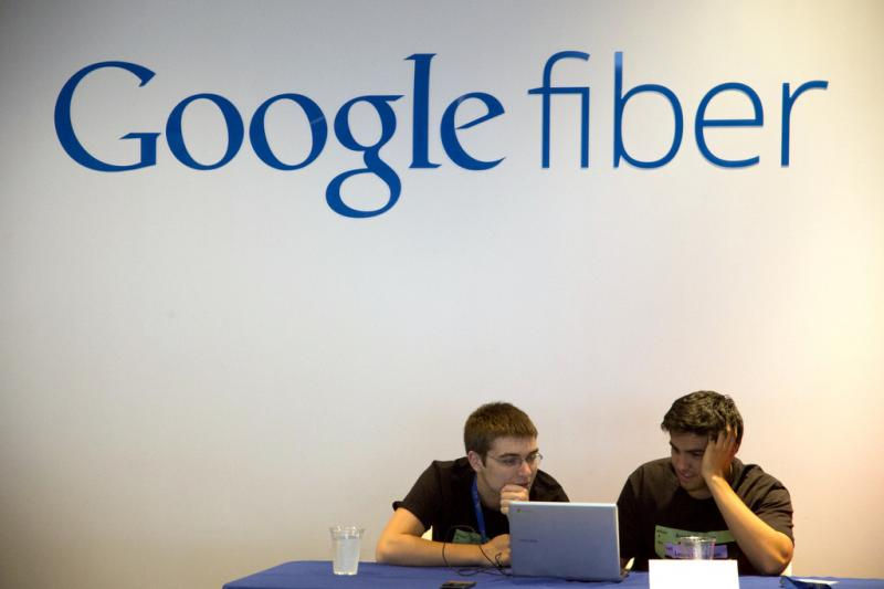 High school students develop apps in a University of Missouri–Kansas City program. Kansas City was the first city to receive Google Fiber.