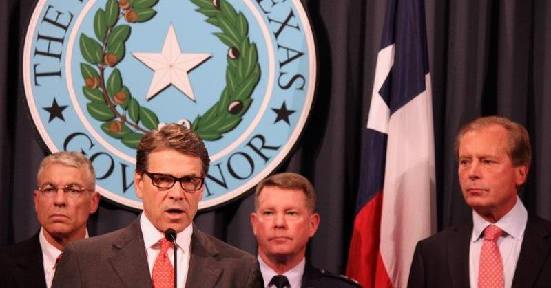 From left: Texas Department of Public Safety Director Steve McCraw, Gov. Rick Perry, Texas National Guard Maj. Gen. John Nichols and Lt. Gov. David Dewhurst spoke at a press conference on border security on July 21, 2014 at the Texas State Capitol.