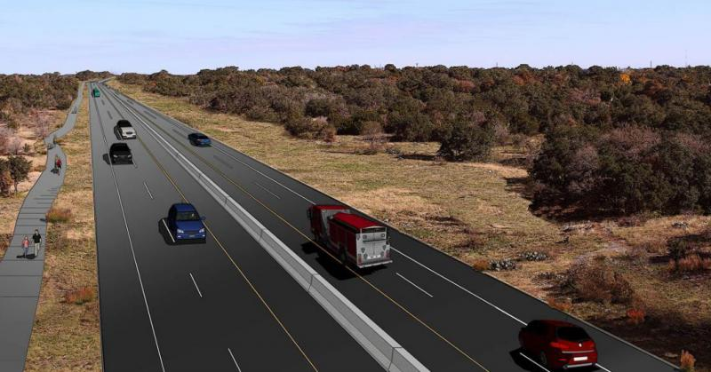 A conceptual rendering of SH 45 SW, stretching from Bear Creek to MoPac.