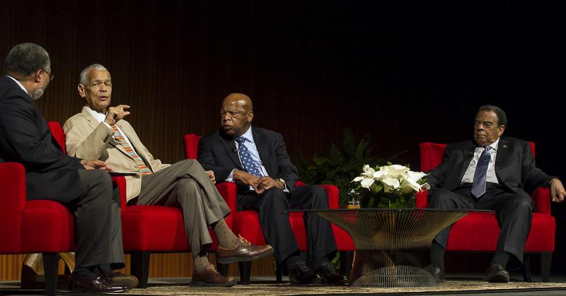 From left to right: Lonnie G. Bunch, III, moderator,  Julian Bond, former Chairman, NAACP, John Lewis, U.S. Representative, Georgia, Andrew Young, former congressman and Ambassador to the United Nations.