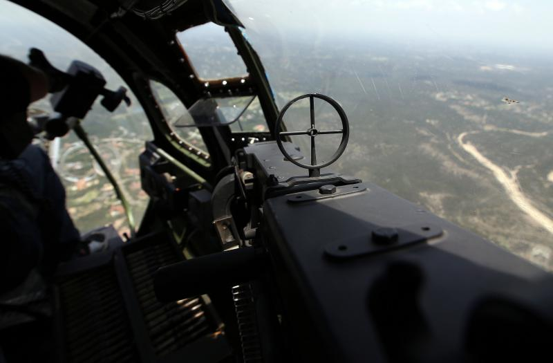 The view from one of the many turrets on the B-17 Bomber that will be on display at ABIA for the 4th of July weekend.