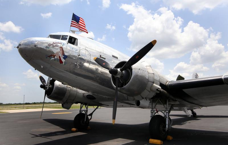 "The C-47 Skytrain ""Bluebonnet Belle"" arrives at ABIA for 4th of July festivities."