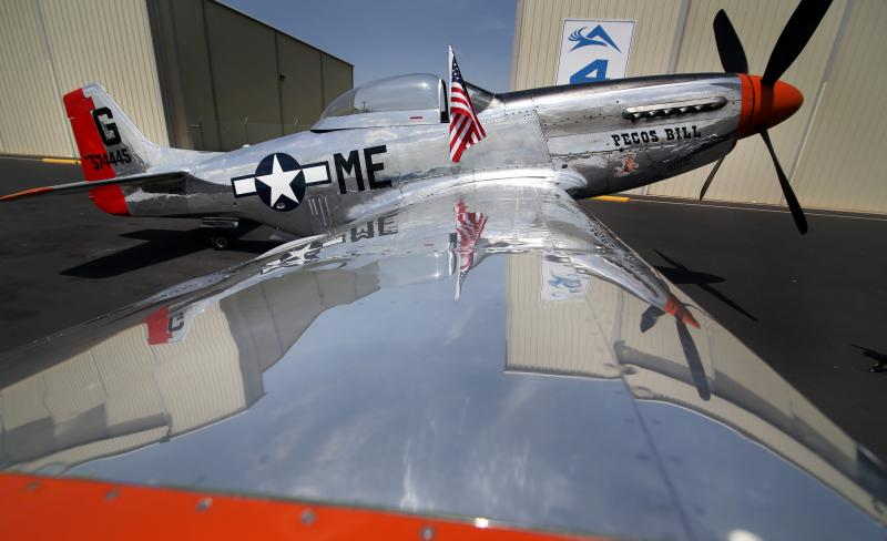"The P-51 Mustang ""Pecos Bill"" is one of four planes on display."