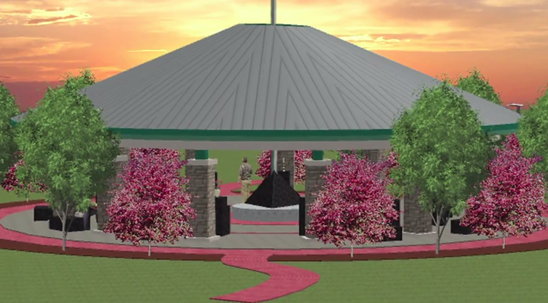 An artist's rendering of the pavilion at a memorial remembering the shootings at Fort Hood in 2009.