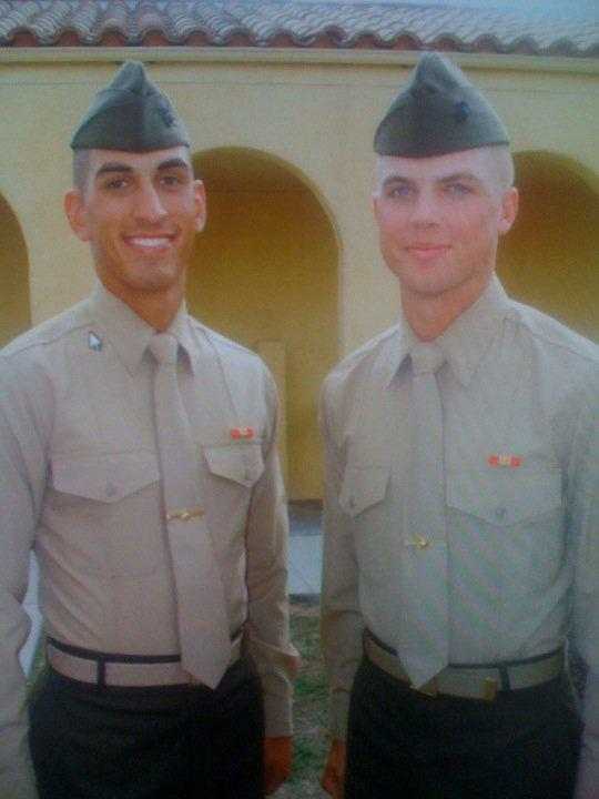 Lance Corporal John Felix Farias and Sergeant Thomas Spitzer on the day in 2009 when they draduated from boot camp.