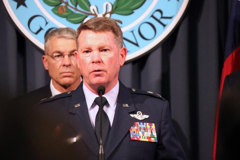 Texas Adjudant General John Nichols speaks at a press conference on the deployment of the Texas National Guard to the border on July 21, 2014.