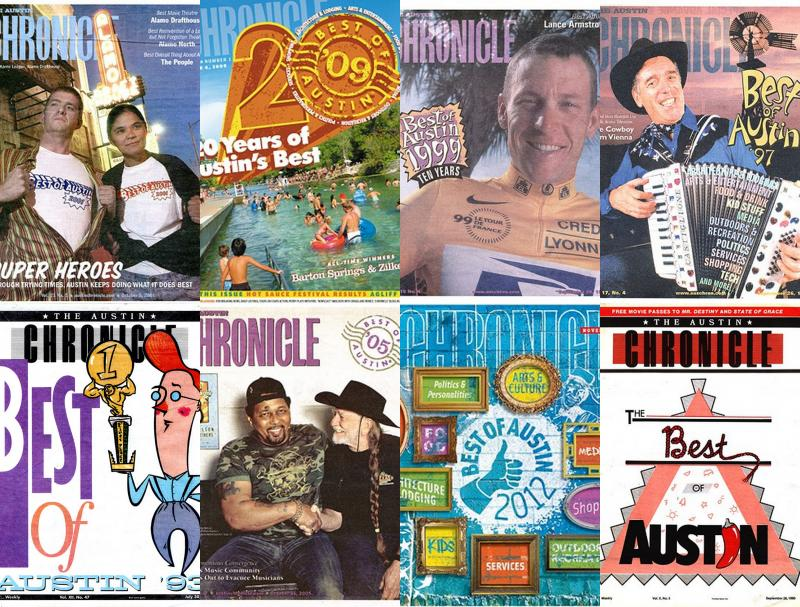 "A collection of Austin Chronicle ""Best of Austin"" covers from over the years – including ones featuring Lance Armstrong and Willie Nelson."