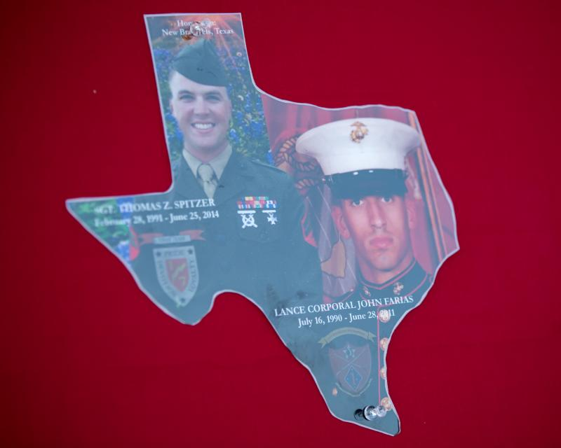 The New Braunfels community has been hit with the death of two best friends in three years. Both marines served and died in Afghanistan. The display is from Sgt. Spitzer's memorial service.