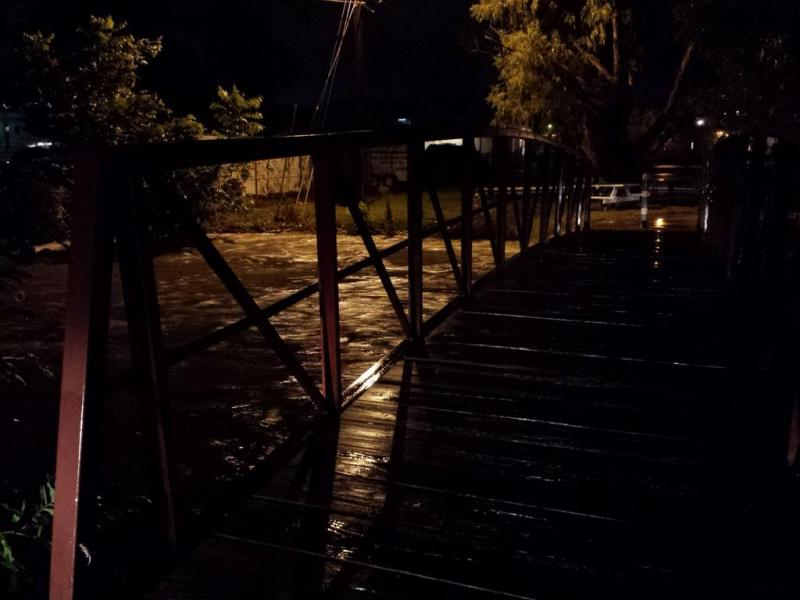 Joanne Nabors snapped this photo of a flooded Skyview Road drawbridge last night.
