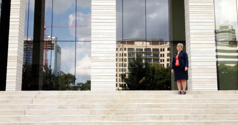 Amy Hagstrom Miller, president and CEO of Whole Woman's Health, stands outside the U.S. District Court for the Western District of Texas in Austin.