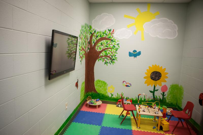 A playroom for some of the undocumented children expected to house the Karnes facility.