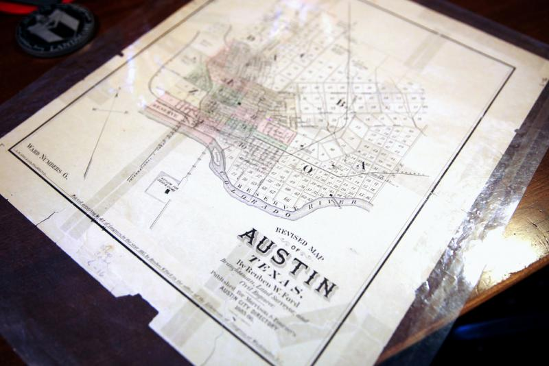 A map at the Austin History Center lays out the city's wards, which were used before Austin adopted an at-large voting system in 1909.