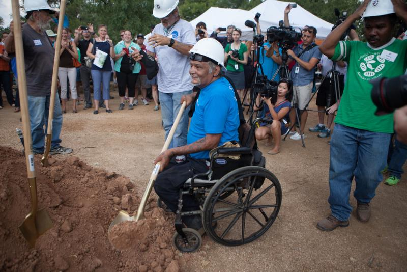 Antonio Carmona, 58, breaks ground at the new Community First! Village location-- Mr. Carmona has been a part of the Mobile Loaves & Fishes community for almost ten years.