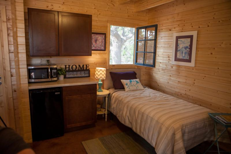The interior of one of the micro-homes. Some can be rented for as low as $180 per month.