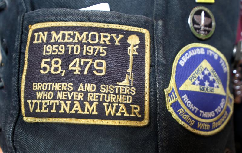A badge on the jacket of a Texas Patriot Guard Rider at the Texas Vietnam Heroes Exhibit.