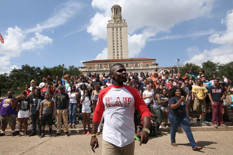 Over one hundred people turned our for a rally on the south steps of the UT Tower. Organized by University of Texas students Jarius Sowells and Jasmine Graham the rally was meant to show support for the people of Ferguson, Mo.