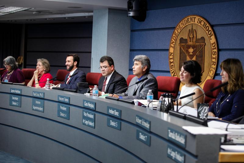 The Austin Independent School District board meeting on June 16, 2014.