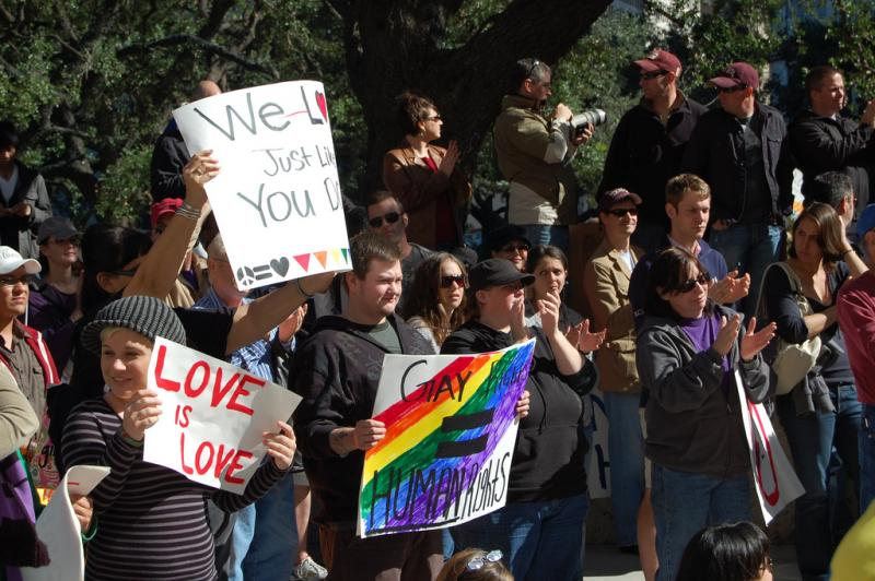 Protestors gather in downtown Houston in support of gay rights.