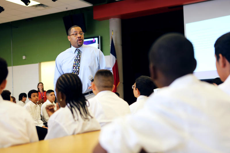 Principal Sterlin McGruder speaks with students during the tutorial.