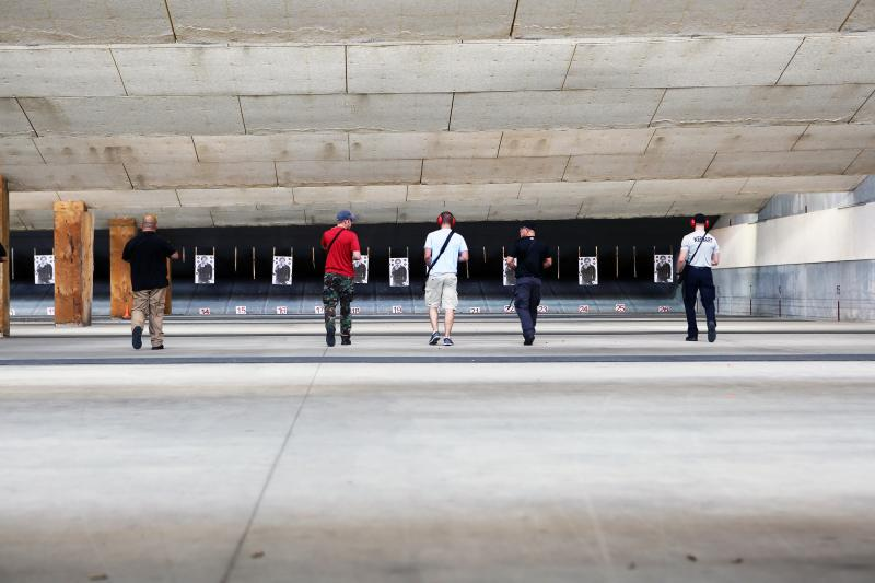Officers train at the police department's shooting range in Southeast Austin.