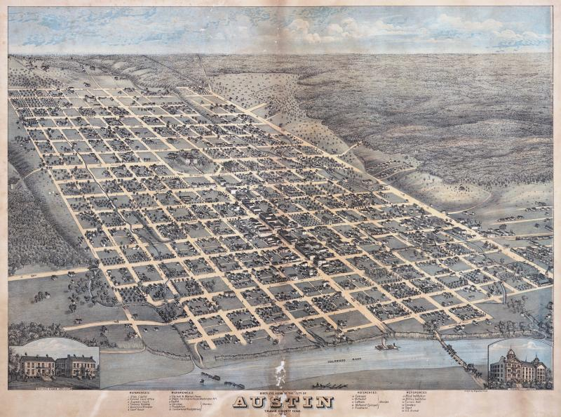 A map of Austin from 1873 by Augustus Koch.