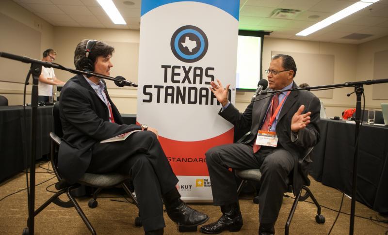 Texas Standard Host David Brown, left, with Senator José Rodriguez (D-El Paso)