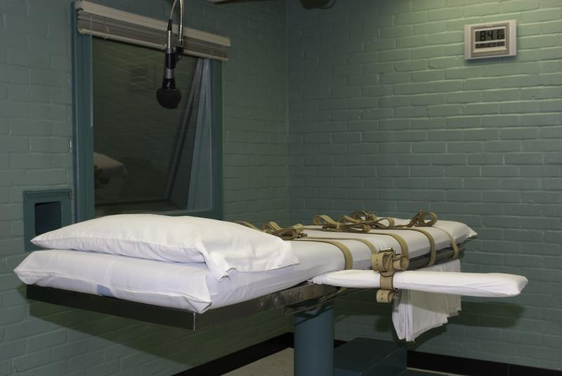 Death row prisoners in Texas are strapped to this gurney in Huntsville before they are executed.