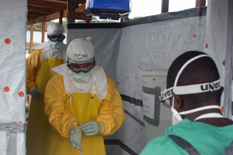 U.S. Centers for Disease Control and Prevention Director Tom Frieden, exiting an Ebola treatment unit.