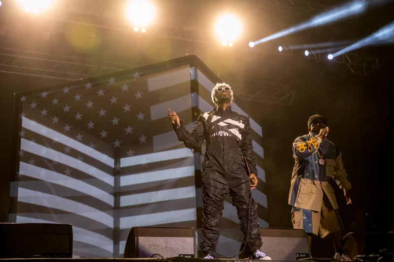 Andre 3000 and Big Boi of Outkast performing their second Friday headlining set at ACL on Oct. 10.