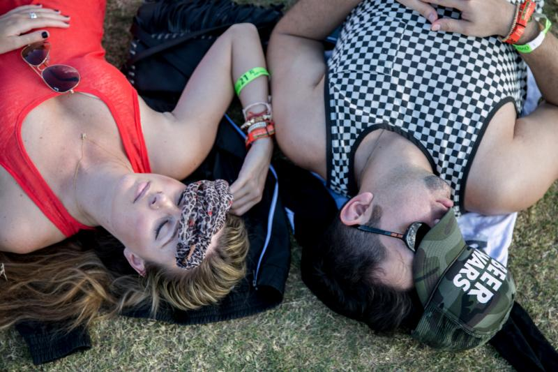 Two attendees getting some shut-eye between sets on the second Friday of the fest.