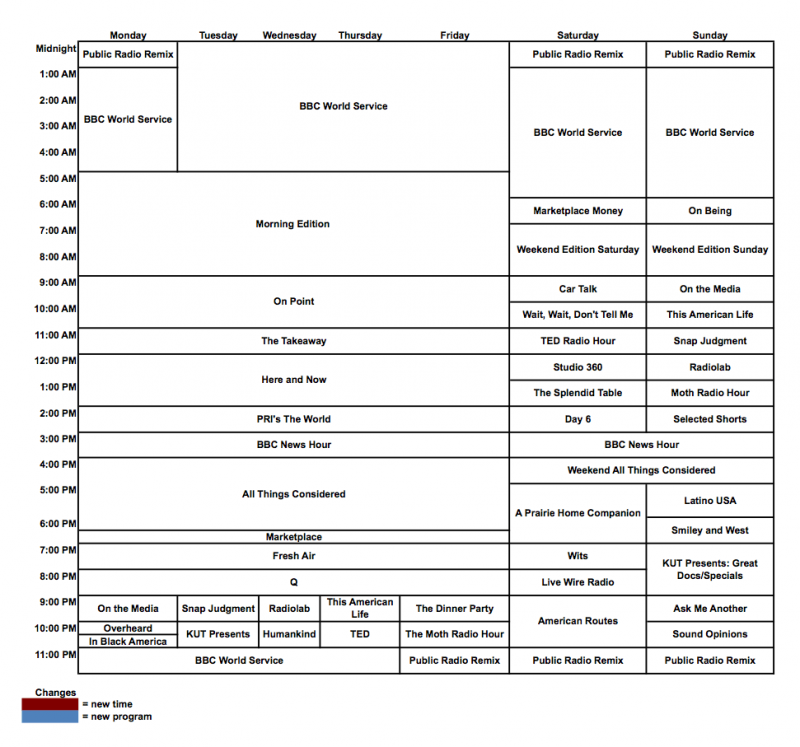 KUT program grid schedule