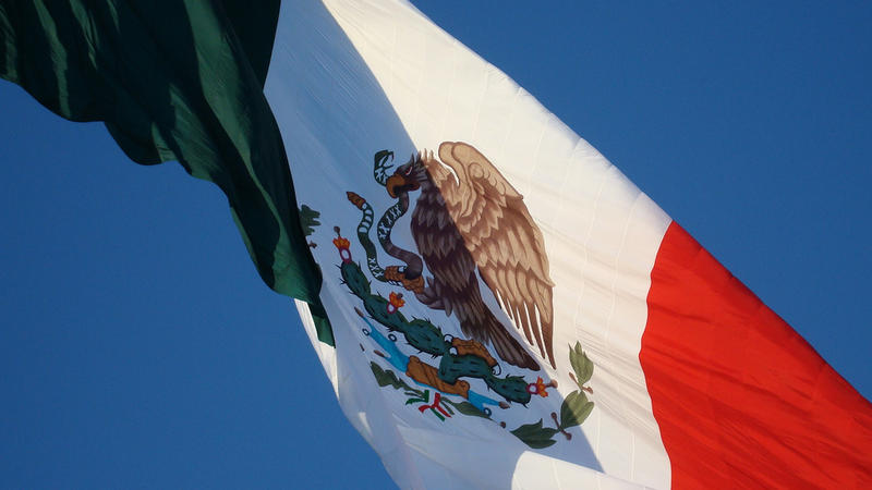 A Mexican flag flies in the city of Iguala.