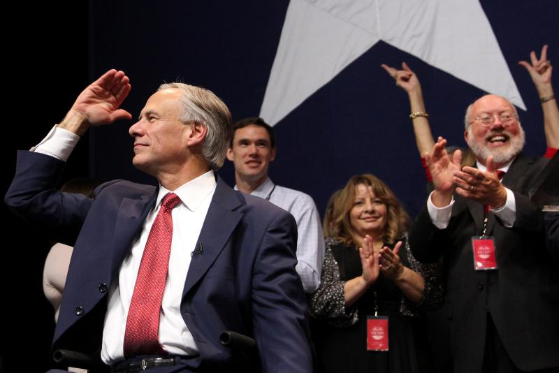 Republican Greg Abbott celebrates his victory in the 2014 Texas Gubernatorial election.
