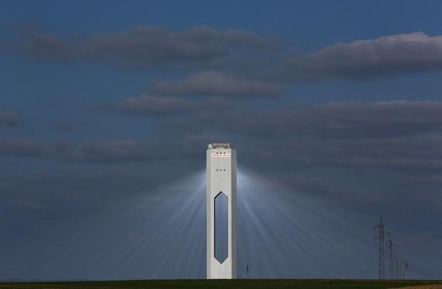 "A tower at Abengoa solar plant at ""Solucar"" solar park."