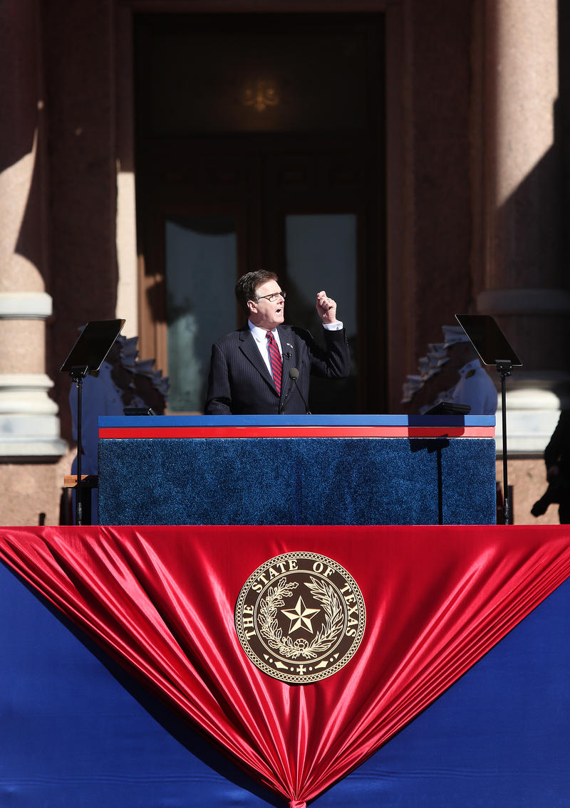 New Lt. Gov. Dan Patrick delivers remarks at the inauguration.
